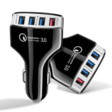 Car Charger QC 3.0 Quick Charge Car-Charger 4 Ports Fast phone Mobile Phone USB for iPhone Samsung Xiaomi