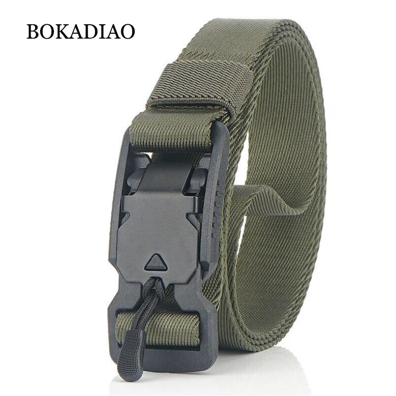 BOKADIAO Military Army Combat Man Canvas Belt Magnetic Buckle Tactical Belts For Men Nylon Outdoor Training Waistband Male Strap