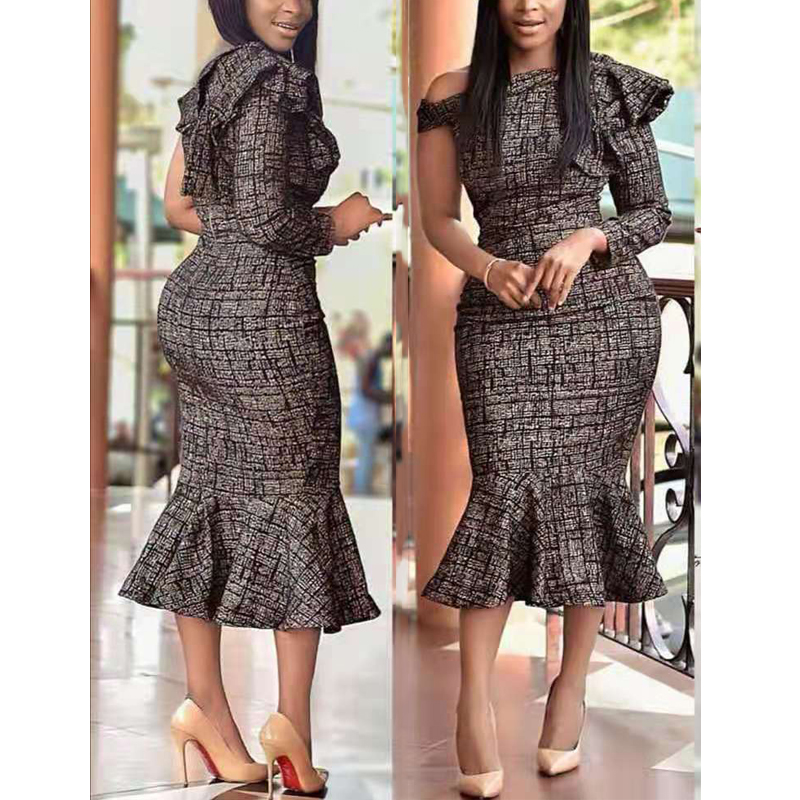 MD 2020 Mermaid Dress African Women One Sleeve Sexy Dresses Elegant Office Lady Maxi Dress Dashiki Clothes Evening Party Robe