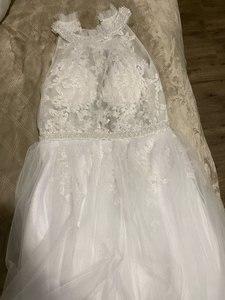 Image 5 - Halfter EINE Linie Weicher Tüll Hochzeit Kleider 2020 Innen Spitze Appliques Perlen Sash Ärmellose Bodenlangen Türkei Brautkleider