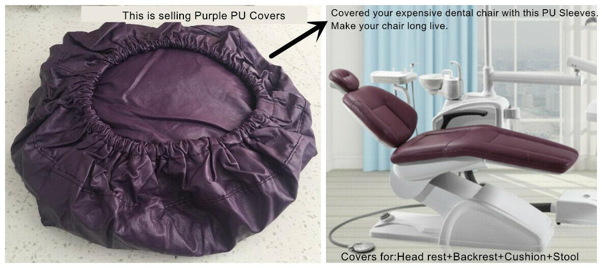 1Set Dental Unit Chair Cover Dentist Stool Protector Cushion Sleeve PU Purple