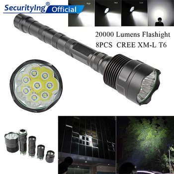 SecurityIng 20000 Lumen 8x XML T6 5 Modes LED Flashlight Super Bright Torch Portable Light for Outdoor / Camping / Hiking sitemap 33 xml