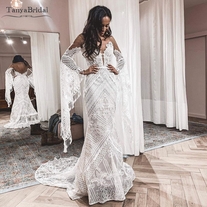 Flare Long Seeve Lace Wedding Dresses Hippie Style Symphony Bridal Gowns See Through Sexy Vestido De Noivas   DW227