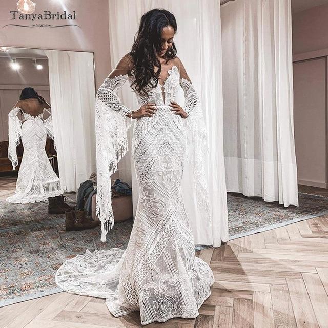 Robe De mariée en dentelle transparente, robe De mariée transparente, Style Hippie, manches longues, modèle symphonique, DW227