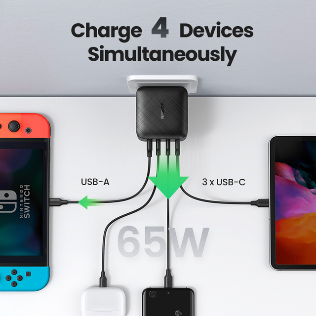 UGREEN 65W GaN Charger Quick Charge 4.0 3.0 Type C PD USB Charger with QC 4.0 3.0 Fast Charger for iPhone 12 Pro Xiaomi Laptop 2