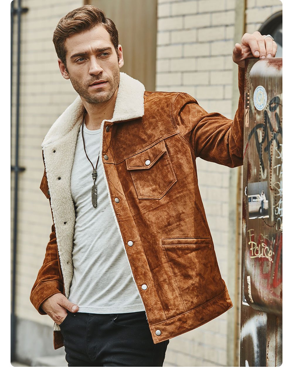 Hed833aecf9934d5eb28bd17ebfefd5b9F FLAVOR New Men's Real Leather Jacket Genuine Leather With Faux Shearling Warm Coat Men