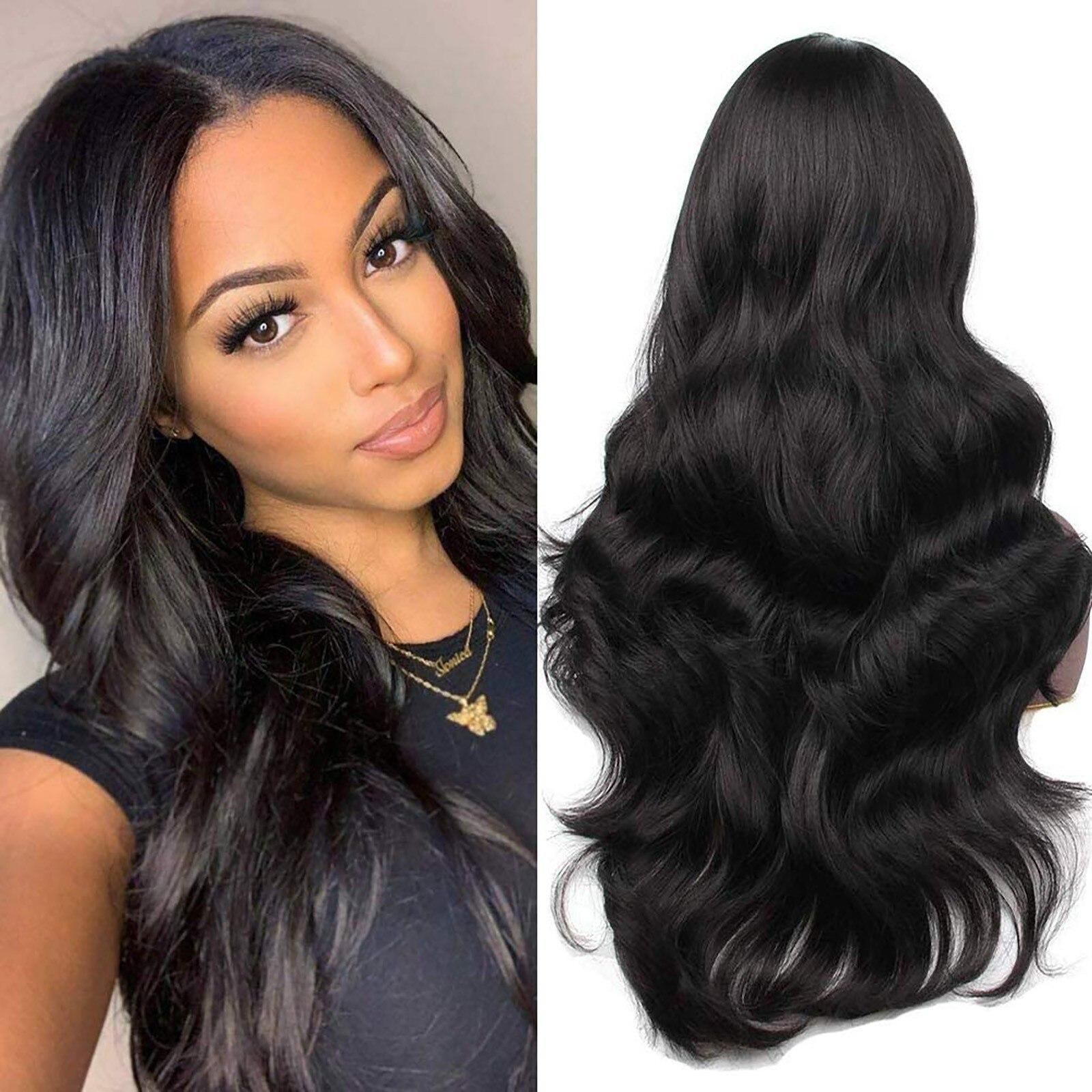 Парик длинный волнистый черный парик синтетические парики для чернокожих женщин волнистый вьющийся черный парик косплей волосы женские длинные сексуальные парики # g30