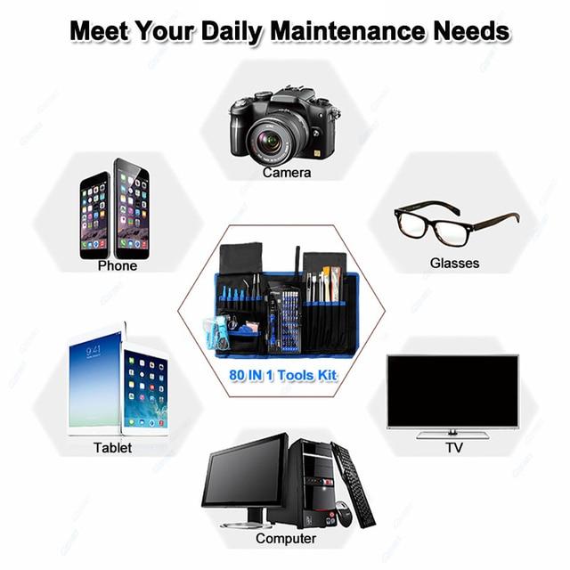 Professional Cell Phones Repair Tool Sets 80 in 1 Precision Screwdriver Kit For iPhone iPad Samsung Laptop Smartphones Repair 6