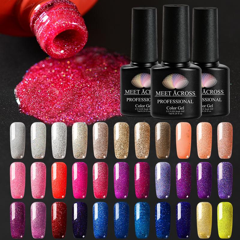 Встретить через 7 мл ногтей голографический лак Гель-лак с блестками УФ-гель для ногтей Shine Shimmer Маникюр Soak Off Декоративный Лак для ногтей
