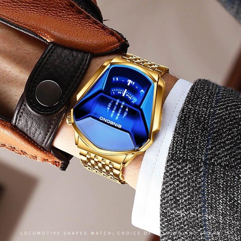 BINBOND 2020 new Gold wrist watch For Men male black technology waterproof student locomotive trend men's casual quartz watch 4
