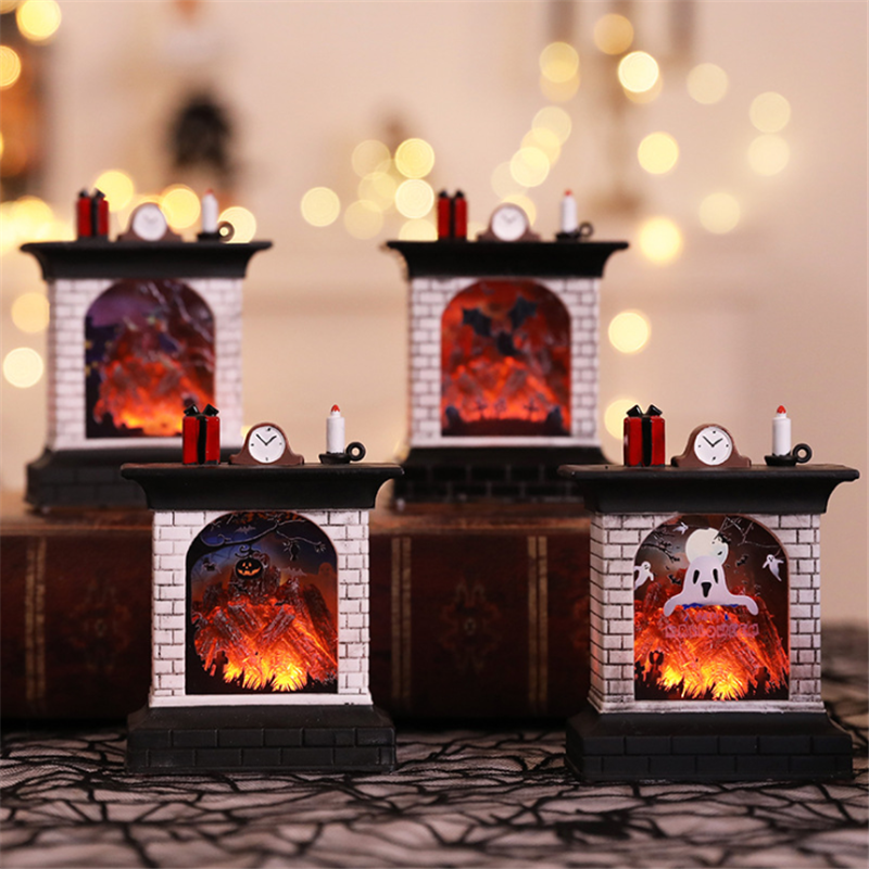Fireplace Simulation Lamp LED Night Light Christmas Decoration Glow Candle Flame Lamp Pumpkin Lamp Bar Layout Decor Xmas Gifts