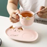 Keramik Kaffee Tasse Sets Cartoon Katze Muster Tee Tasse Dessert Platte Outfit Kreative Nette Kaffee Tasse und Untertasse Set Geben weg Löffel-in Tassen aus Heim und Garten bei