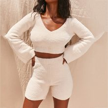 Plush 2 Piece Tracksuit Women Summer Autumn Matching Sets Long Sleeve V Neck Crop Tops and Biker Shorts Set Sweater Tracksuit(China)