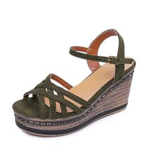 Fivemiles Womens Bohemian Comfort Large Size Wedge Sandals 10 CM Height