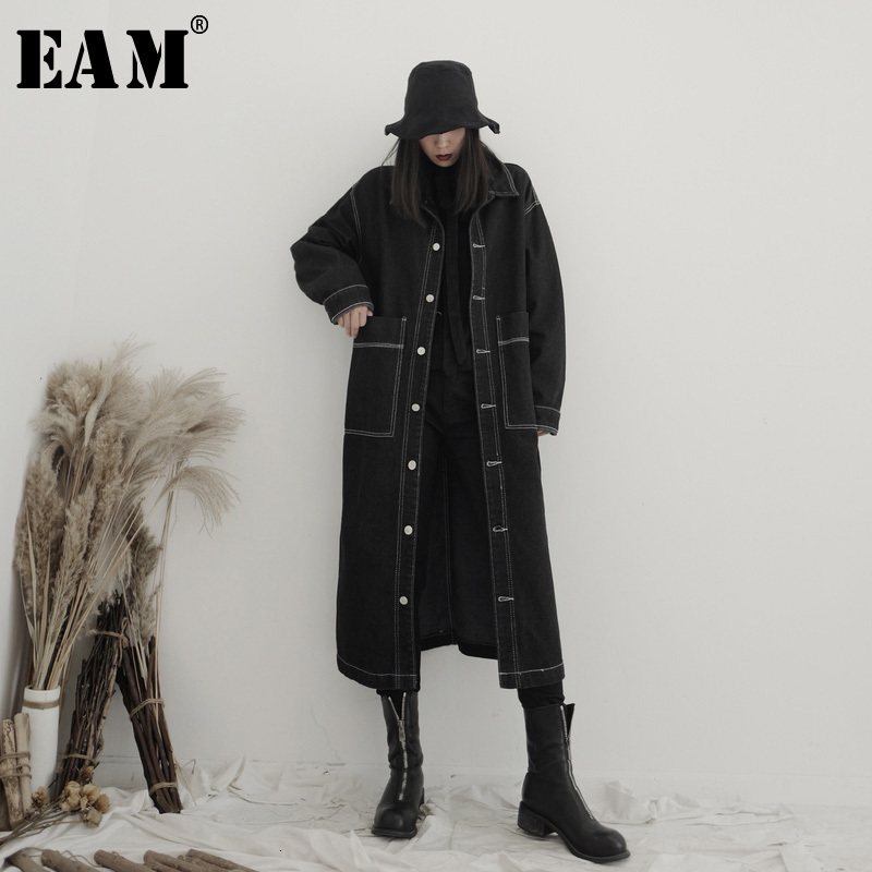 [EAM] Women Black Denim Big Size Long Trench New Lapel Long Sleeve Loose Fit Windbreaker Fashion Spring Autumn 2020 19A-a638