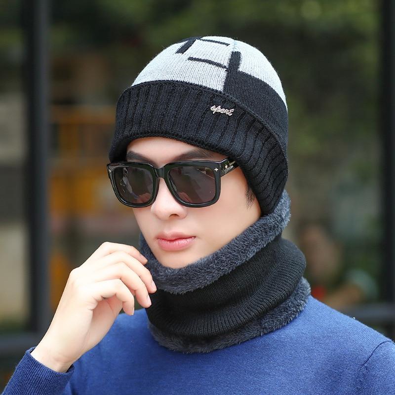 Neck Warmer Knitted Hat Scarf Set Fur Wool Lining Thick Warm Knit Beanies Balaclava Winter Hat For Men Women Cap Skullies Bonnet