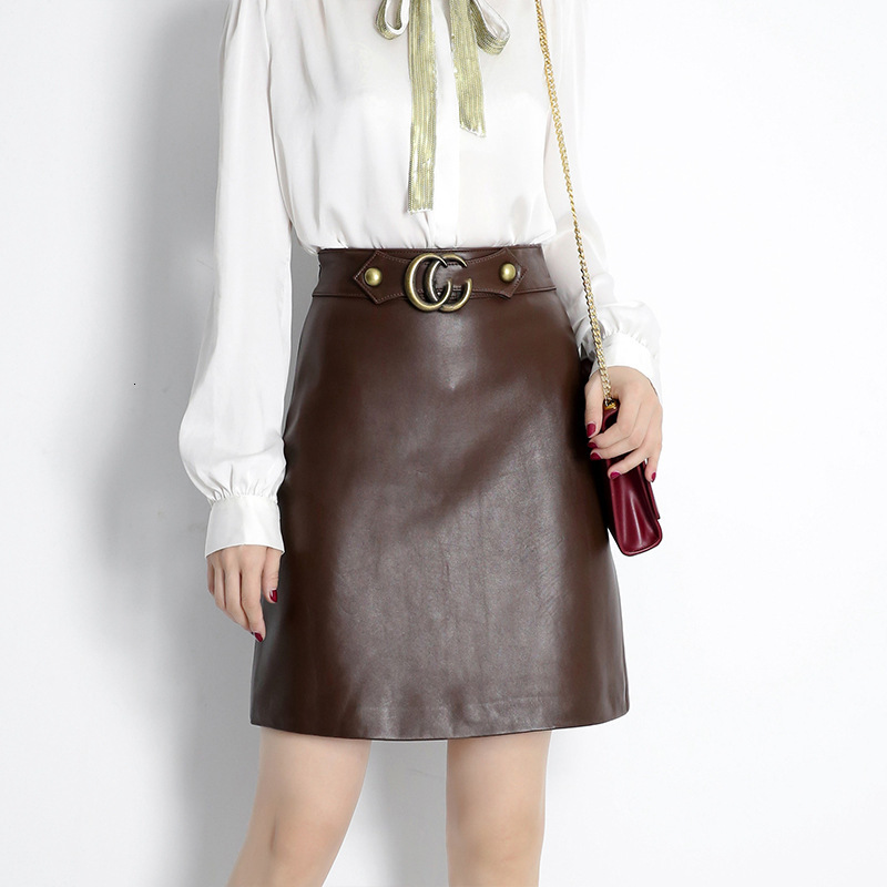 2020 Genuine Leather Skirt Women Natural Real Sheepskin High Waist Brown Office Ladies Elegant Design Work Formal Skirts Female image