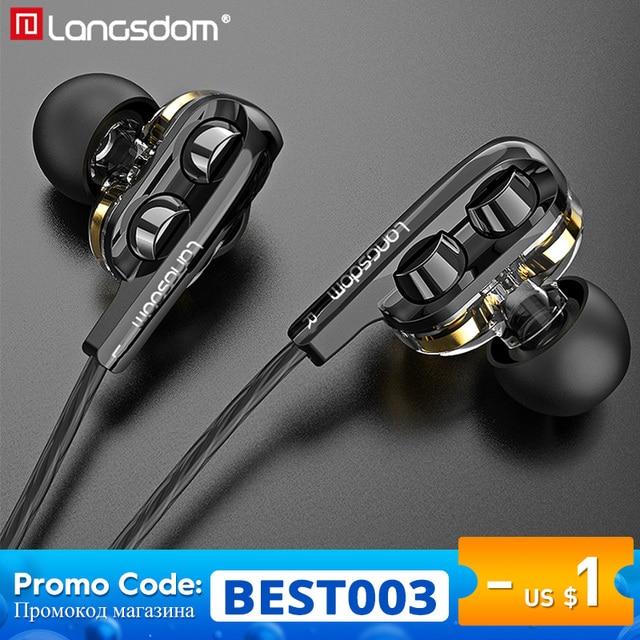 Langsdom D4C Wired Earphone Headphones with Microphone Dual Driver Phone Earphones Type C Ear phones auriculares fone de ouvido