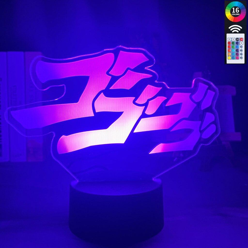 Anime JoJo's Bizarre Adventure Letter Design Led Night Light Touch Sensor Colorful Nightlight For Home Decor Table 3d Lamp Gift