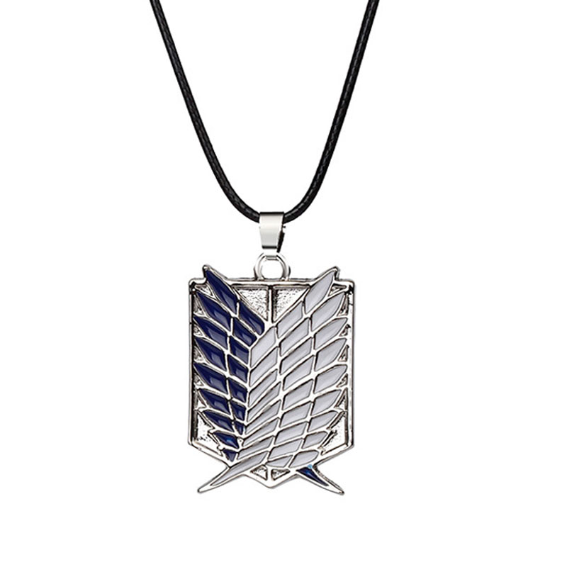 Alloy Necklace Anime Attack On Titan Necklace Wings Of Liberty Shingeki No Kyojin Leather Chain Gold Silver Pendant Accessories
