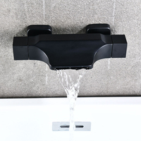 Black Bathroom Tub Faucet Double Handle Waterfall Spout Mixer Tap Wall Mounted Bath Faucet Bathtub Faucet Water Mixer