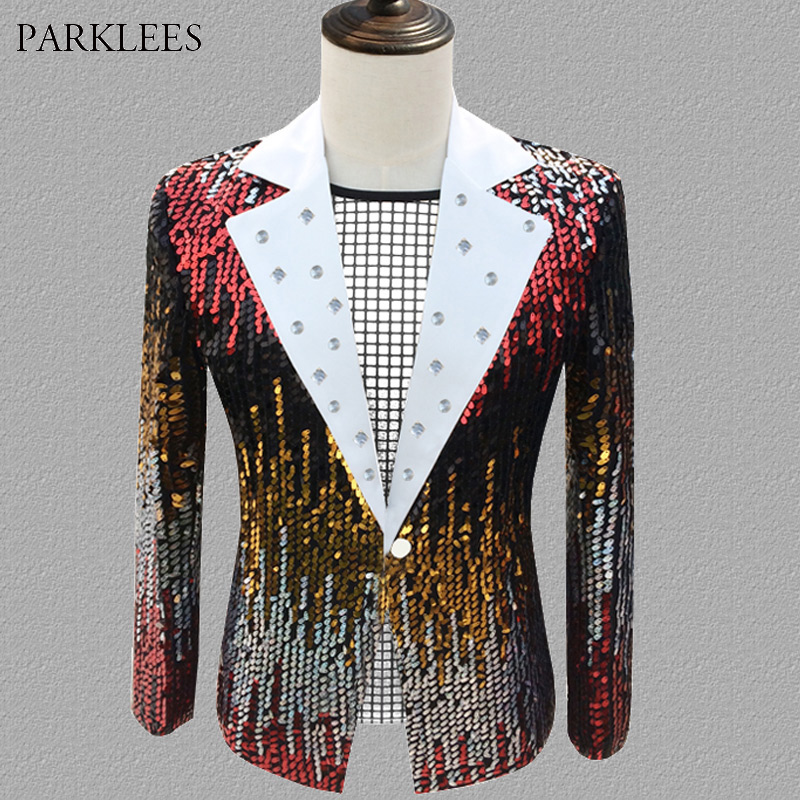 <font><b>Mens</b></font> <font><b>Sequin</b></font> Suit <font><b>Jacket</b></font> Slim Fit Stylish Diamond Dress Tuexdo <font><b>Blazer</b></font> Stage Party Dance Singer Nightclub Costume <font><b>Blazer</b></font> Masculino image