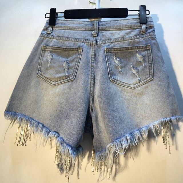 IEQJ 2021 New Fashion Denim Jeans Women Hole Tassel Bright Diamond Chain Light Blue Streetwear High Waist Slim Short Pant AE323 2
