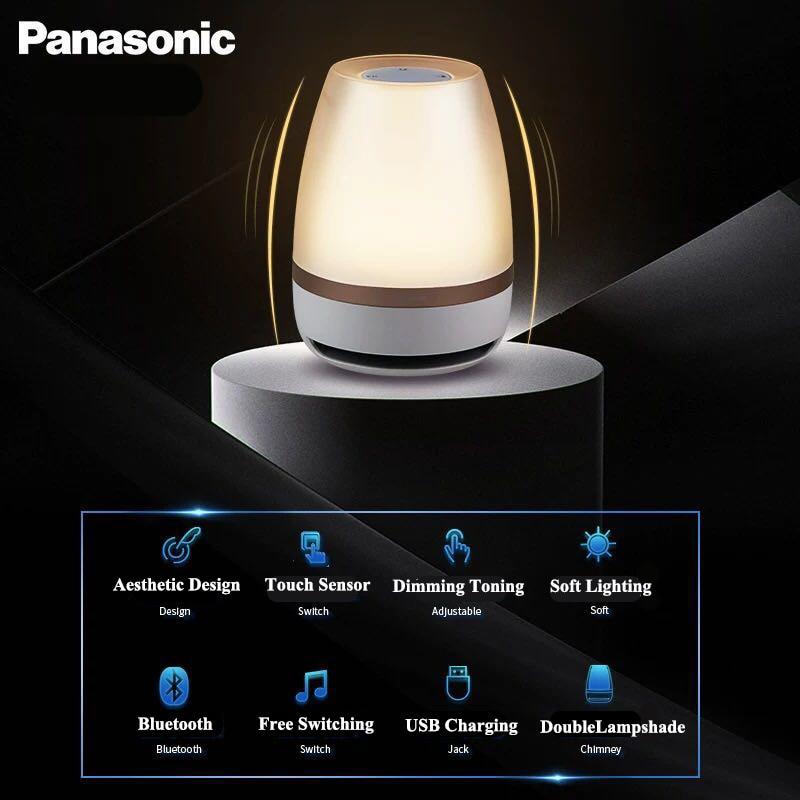Falante Panasonic Sensor de Toque Bluetooth Speaker Luz LED Night Light Música Inteligente de Controle Remoto Sem Fio Lâmpada de Mesa - 2