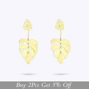 Image 2 - ENFASHION Hollow Monstera Leaf Drop Earrings For Women Bling Bohemian Dangle Earings Fashion Statement Holiday Jewelry EB191061