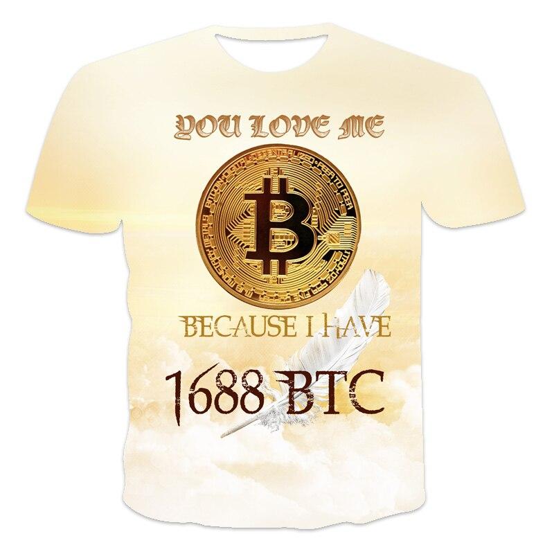 2021 latest design Men's T-shirt Bitcoin humor Letter printing Funny sentences 3D printed T-shirt Men and women Tees BTC series 3