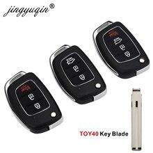 jingyuqin 10pcs/lots 3/4BTN Remote Key Fob Shell For Hyundai HB20 SANTA FE IX35 IX45 Accent I40 Flip Folding Key Case