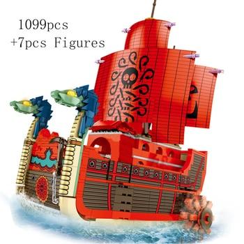 NEW Anime ONE PIECE Boa Hancock Boa Sandersonia Pirate Ferry Boat Going Merry Building Blocks Bricks Classic Model Sets Toys