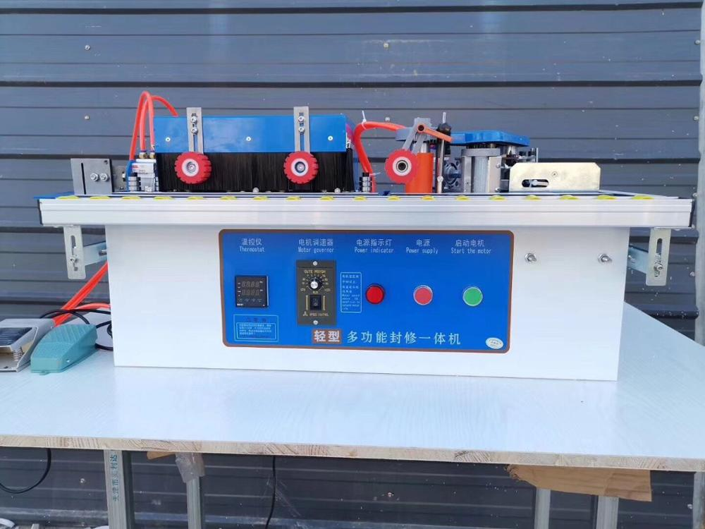Woodworking Edge Banding Machine With Gluing, Trimming Rotation + Widening + Straight Line / Curve / One Machine