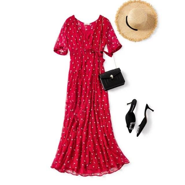Women Dress New Silk V-neck Red  Dress