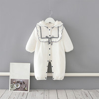 Baby Costume Rompers Clothes Thicken Winter Hooded Boys Girls Garment Warm Comfortable Pure White Cotton Coat Kids Outwear 0 2Y