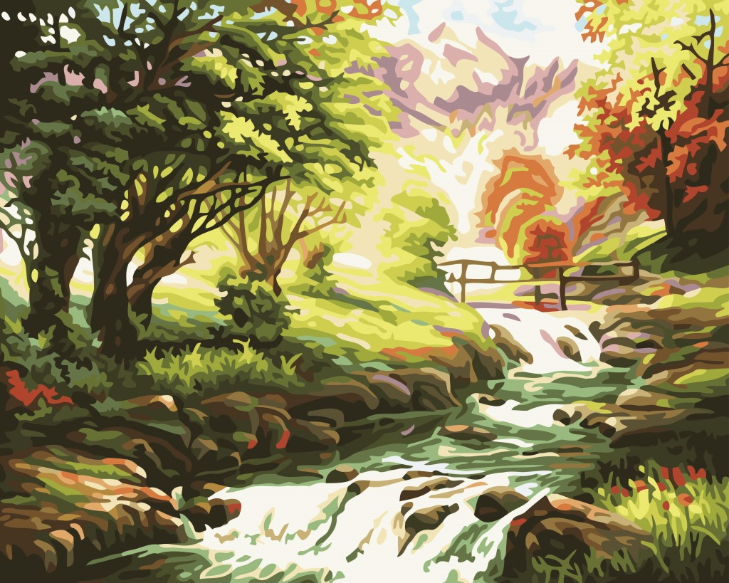 Manufacturers Direct Selling DIY Digital Oil Painting Mountain Beautiful Scenery Hanging Painting Pure Hand Painted Living Room