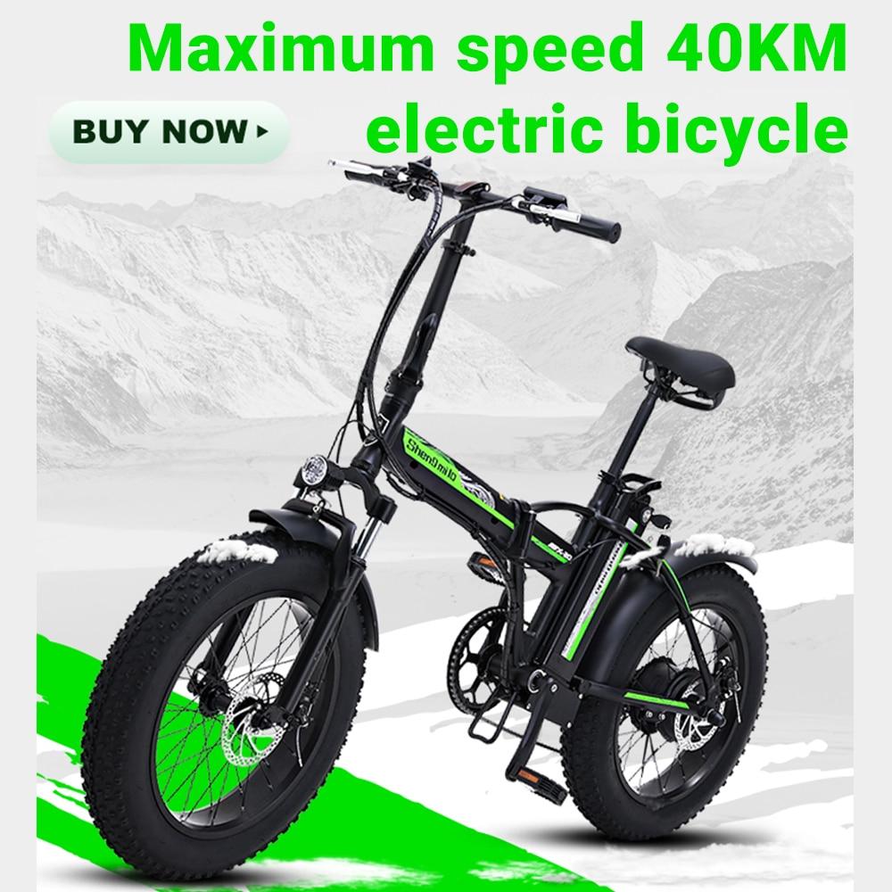 Electric bike 20 inch eBike snowbike 48V 15AH lithium battery hidden Adult commuter bike electric bicycle