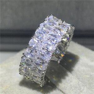 Уникальное женское кольцо, модное кольцо из серебра 925 пробы с большим цирконием 5А, обручальное кольцо в винтажном стиле, обручальные кольц...