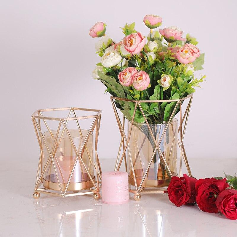 2 pcs/Lot bougeoir de table placage métal chandelier géométrique rond romantique bougeoirs pour mariage dîner Decorat ZZT007