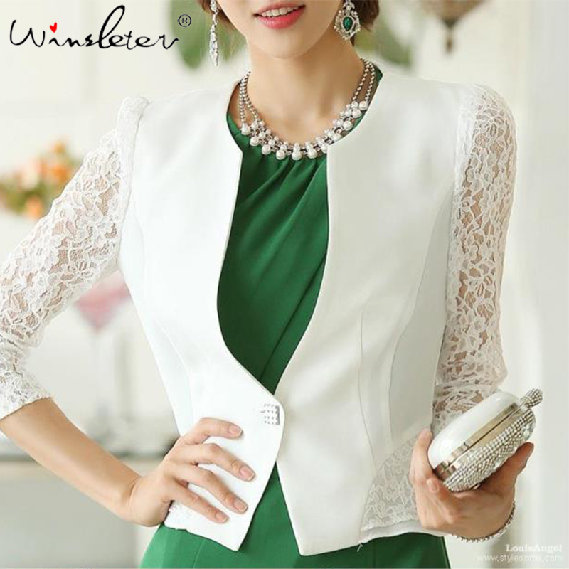 Spring Autumn Women White Blazer Slim Peplum Ruffles Single Button Lace Embroidery Short Blazer Jacket Coat Cardigan C04901W