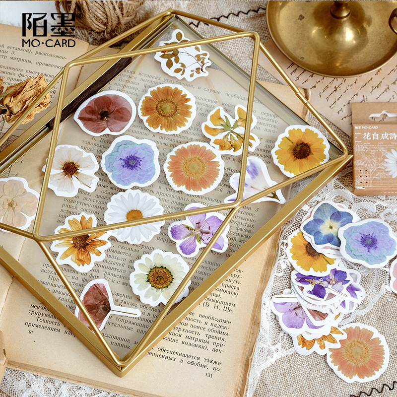 46pcs/lot Flower Poetry Kawaii Sticker Decoration Diy Scrapbooking Stickers Stationery Cute Diary Label