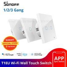 SONOFF مفتاح ذكي مع شاشة تعمل باللمس ، جهاز تحكم عن بعد واي فاي ، تشغيل/إيقاف 1/2/3 Gang 433Mhz RF/صوت/APP/التحكم باللمس 86 نوع ، المنزل الذكي TX ، T1EU