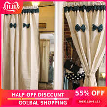 Nordic Simplicity Half-curtain Blackish Green Bowknot Tube Curtains Beige Cotton Linen Short Curtain for Kitchen Cabinet Door(China)