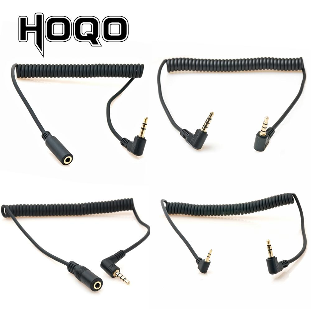 90 graus 3.5mm 3/4 pólo macho a 3.5mm/2.5mm 3/4 pólo macho/fêmea fone de ouvido estéreo áudio aux mini mola enrolado cabo espiral