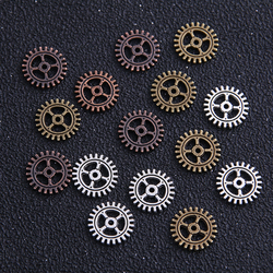 30pieces/lot 12mm Two Color Metal Alloy mini Gear Charm Gear Jewelry Pendan