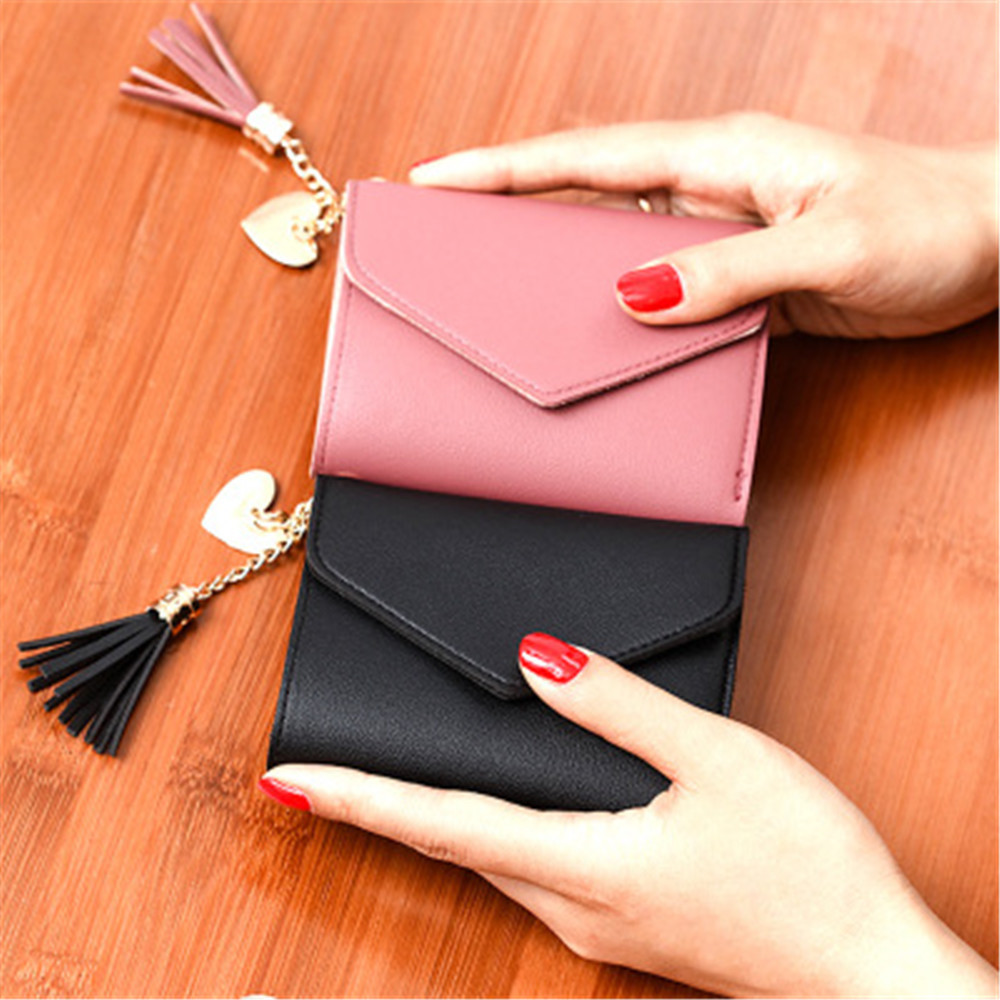 2019 Simple Tassel Women Wallets Credit Card Holders Small Luxury Brand Leather Female Short Purses Womens Wallets And Purses