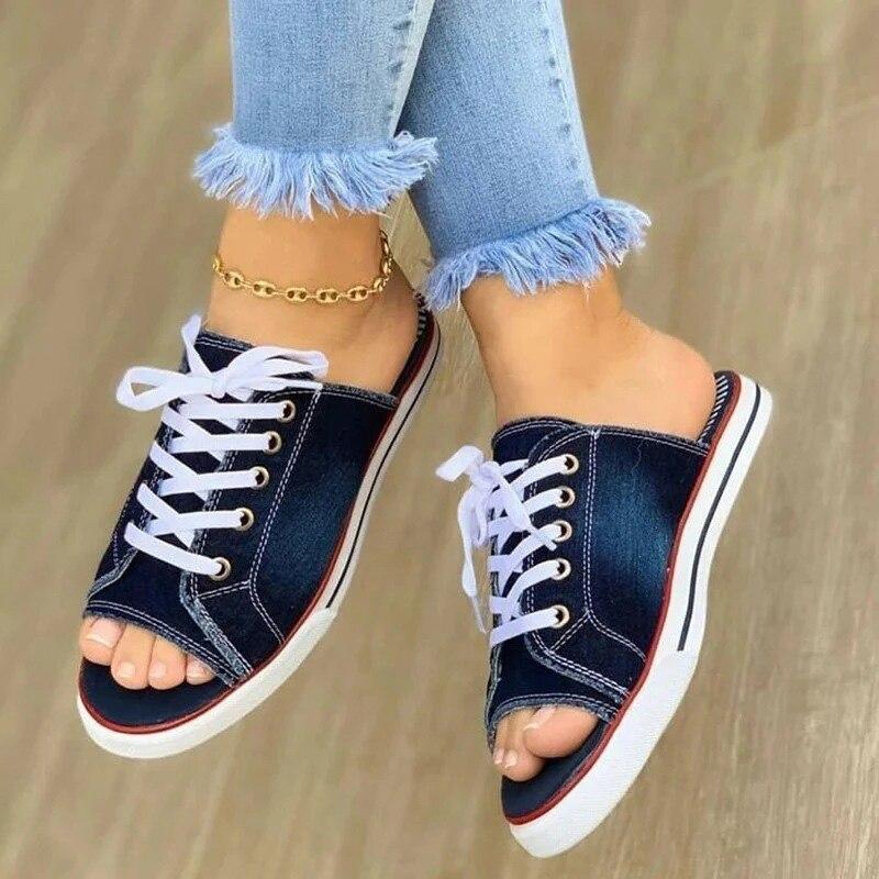 Sandales en Denim pour femmes, chaussures d'été à bout ouvert, pour femmes, grande taille, mode, nouvelle collection décontracté, confortable