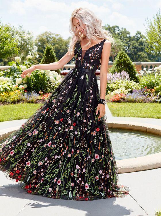 Sexy Deep V Flower Embroidered Dress Backless Sleeveless Black Lace Evening Club  DressesL0226