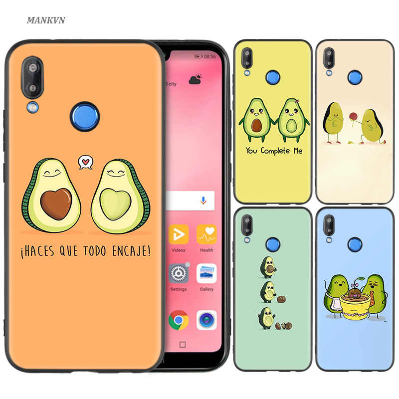 Silicone Cases Cover for Huawei P30 P20 P10 P9 Mate 10 20 Lite 2017 Note 5 5i Pro P Smart Plus 2019 Casos Cute Avocado Art Print
