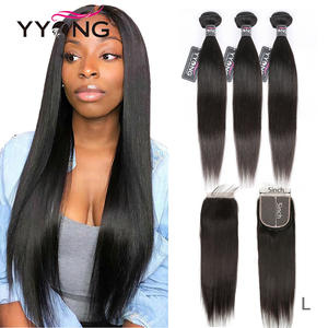 Yyong 5x5 Closure Hair Bundles Brazilian Straight with Remy-8-30inch